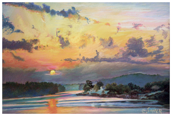 Lake Wylie, Original pastel painting by the fine artist Eric Soller
