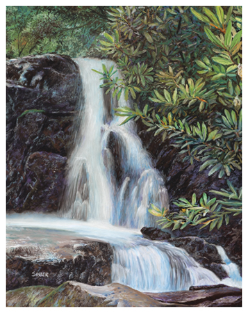Laurel Falls, Original pastel painting by the fine artist Eric Soller