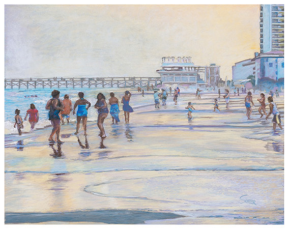 Myrtle Beach Sunset, Original pastel painting by the fine artist Eric Soller