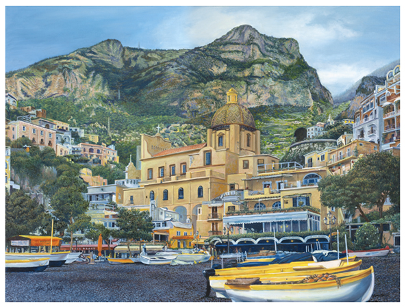Positano Boats, Original oil painting by fine artist Eric Soller