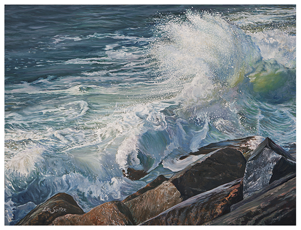 The Pounding Surf, Original oil painting by the fine artist Eric Soller