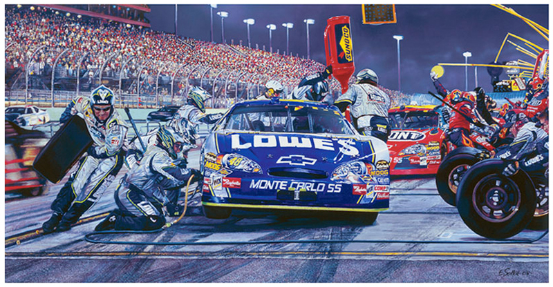 #48 Lowes Car, Original gouache painting by Eric Soller